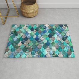 Mermaid Pattern, Sea,Teal, Mint, Aqua, Blue Rug