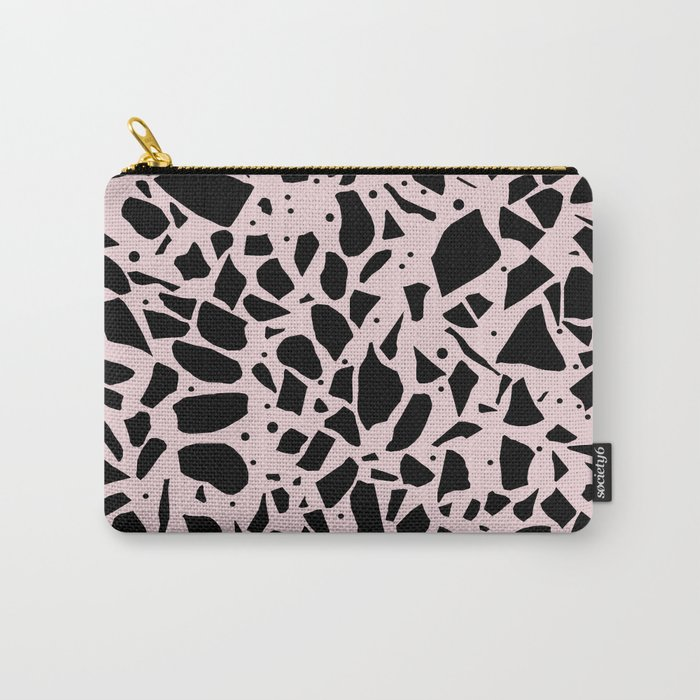 Terrazzo Spot Black on Blush Carry-All Pouch
