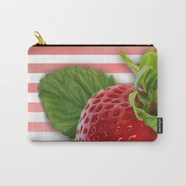 Strawberry Skin and Leaves Pink Stripes Carry-All Pouch