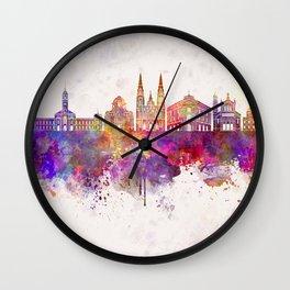 La Plata skyline in watercolor background Wall Clock