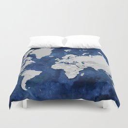 Dark blue watercolor and grey world map Duvet Cover