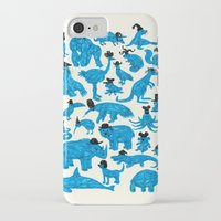 hats iPhone & iPod Cases featuring Blue Animals Black Hats by WanderingBert / David Creighton-Pester