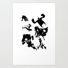 The Avengers Minimal Black and White Art Print