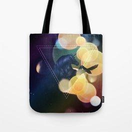 Black Unicorn with yellow bokeh Tote Bag