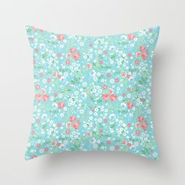 Mini Floral Aqua  Throw Pillow
