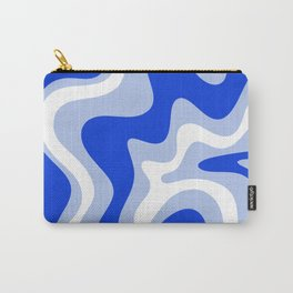 Retro Liquid Swirl Abstract Pattern Royal Blue, Light Blue, and White  Carry-All Pouch