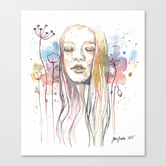 Meditation, watercolor  Canvas Print