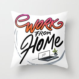 Work From Home Office Throw Pillow