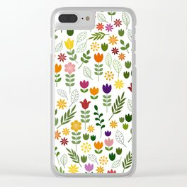Scandinavian Style Flora & Fauna Pattern Clear iPhone Case