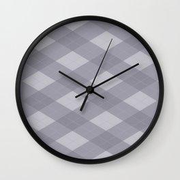 Pantone Lilac Gray Argyle Plaid Diamond Pattern Wall Clock