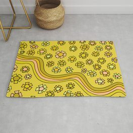 Retro Flower Power Flow by surfy birdy Rug