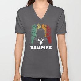 Vampire Vampire Teeth Bloodsucker Halloween Bat Unisex V-Neck