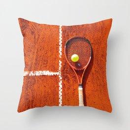 Tennis racket with ball on tennis court Throw Pillow
