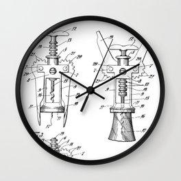Cork Screw Patent - Wine Art - Black And White Wall Clock