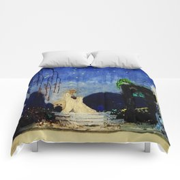 Deserted Moment magical realism landscape painting by Kay Nielsen Comforters