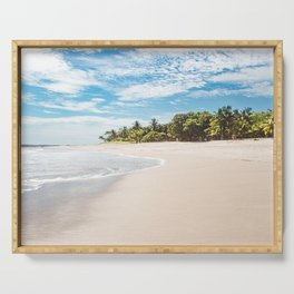 White sands and palm trees of a paradise beach in Costa Rica in Summer Serving Tray