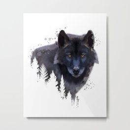 Wolf watercolor, Watercolor Wolf, Watercolor animal, Wolf portrait, Woodland animal Metal Print