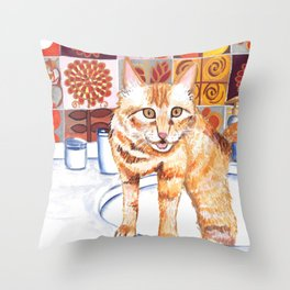 Gouache Cat  Throw Pillow