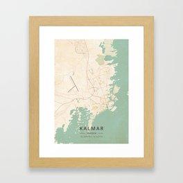 Kalmar, Sweden - Vintage Map Framed Art Print