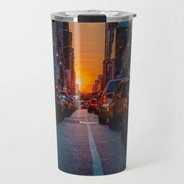 New York City Taxi Sunset (Color) Travel Mug