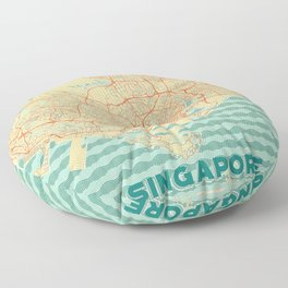 Singapore Map Retro Floor Pillow