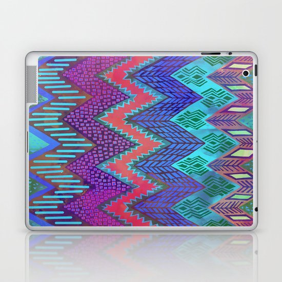 Tribal Chevron - Aqua Laptop & iPad Skin