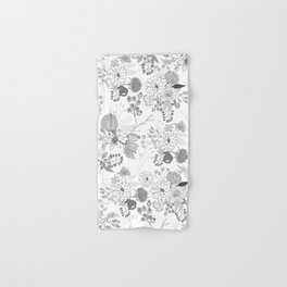Modern elegant black white rustic floral illustration Hand & Bath Towel