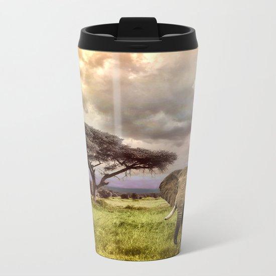 Elephant Landscape Collage Metal Travel Mug