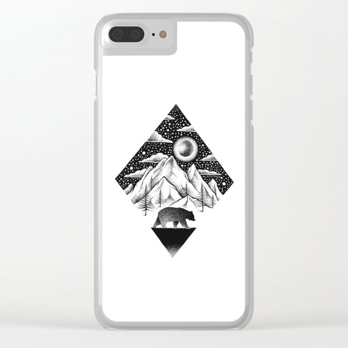 LONELY BEAR Clear iPhone Case