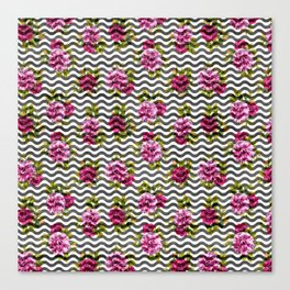 Neon pink green white black geometrical chevron floral Canvas Print