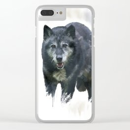 Timber Wolf watercolor painting Clear iPhone Case