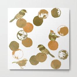 Birds & Dots Burnt Orange Metal Print