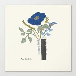 Blue Poppy in Grey Vases Canvas Print
