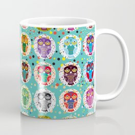 funny colored owls on a turquoise background Coffee Mug
