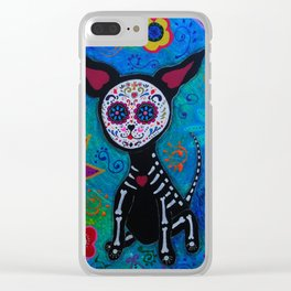 Dia de los Muertos Chihuahua Mexican Painting Clear iPhone Case
