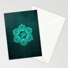 Vintage Scratched Teal Blue Lotus Flower Yoga Om Stationery Cards