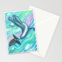 seal and turtle's ocean Stationery Cards