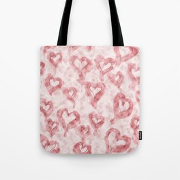 Pink Pastel Hearts on Watercolour Clouds Tote Bag