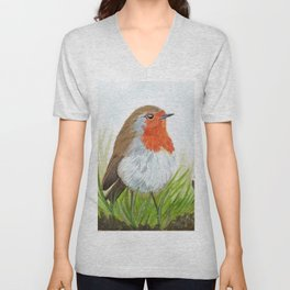 Robin with Oakleaves Unisex V-Neck