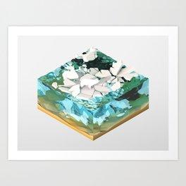 Low Poly Artic Scenes - Polar Bear (Isometric) Art Print