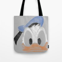 donald duck Tote Bags featuring MICKEY MOUSE: PAPERINO DONALD DUCK by DrakenStuff+