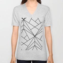 Modern geometrical black white abstract stripes Unisex V-Neck