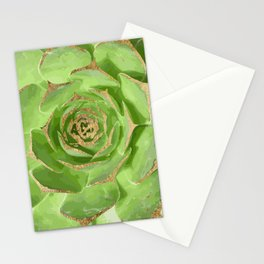 Cactus Green Succulent with Faux Gold Tips Stationery Cards