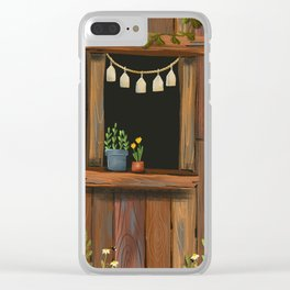 sunny day cabin in the woods Clear iPhone Case