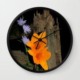 Orange Daylily and Chicory Wall Clock