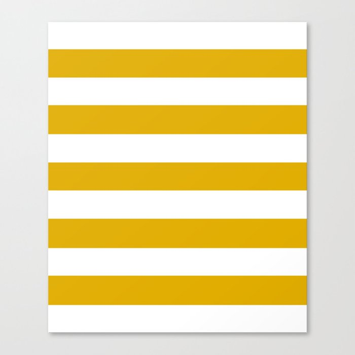 Mustard Yellow Solid Color White Stripes Pattern Canvas Print By