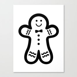 Gingerbread Man (black & white), simple, bold design Canvas Print