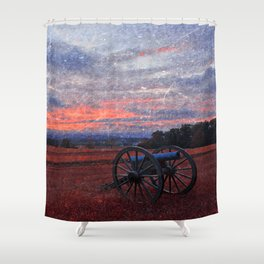 Gettysburg Cannon Sunset - Ruby Rapture Shower Curtain
