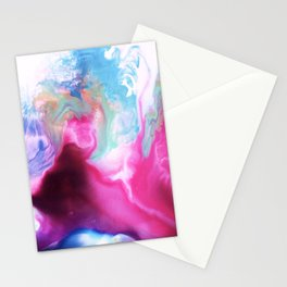 Rainbow Down Abstract Watercolor Painting Stationery Cards