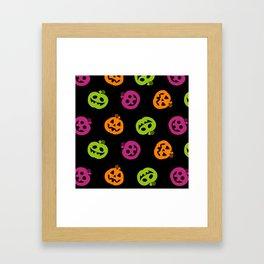 Fanciful Jack O' Lanterns Halloween Pattern Framed Art Print